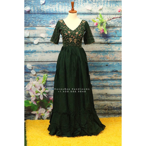 Indian Designer dress long frock,Indian Stitched Dress for women, zardhosi maggam work bottle green Dress  georgette teenager dress mehendi