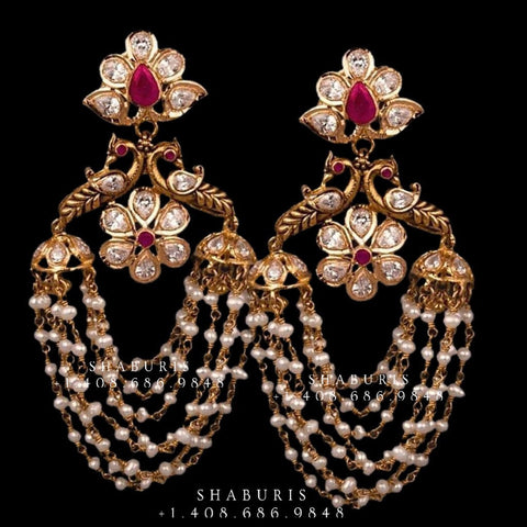 Diamond Jhumka,diamond chandbali,diamond earrings indian,detatchable diamond jhumka,swarovski diamond jhumka,chandbali earrings-SHABURIS