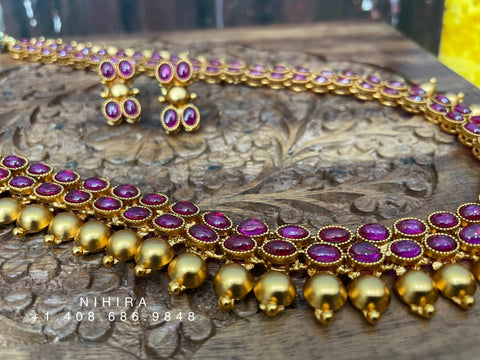 Temple Jewelry indian,South Indian jewelry,Semi Precious temple jewelry,ruby gems,Indian traditional Jewelry -NIHIRA-SHABURIS