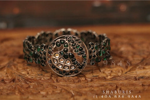Kundan opeable kada bangle Silver jewelry Indian simple bangle ,oxidized ,Indian party wear jewelry,Indian Jewelry-NIHIRA-SHABURIS