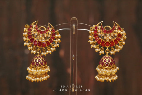 Chandbali , Latest Indian Jewelry,South Indian Jewelry,Pure silver Jhumkas Indian,Indian Earrings,Indian Wedding Jewelry -NIHIRA-SHABURIS