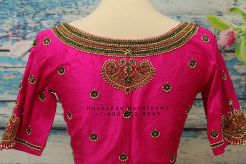 Jewelry work designer blouse - Pattu Saree Blouse -Maggam work blouse - Kundan work blouse - Saree Blouse - Pink Saree Blouse - Pink Blouse