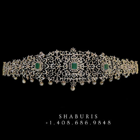 Diamond Vaddanam,South Indian Jewelry,Vaddanam,Kids Vaddanam,hip chain,diamond jewelry,pure Silver indian jewelry - NIHIRA - SHABURIS