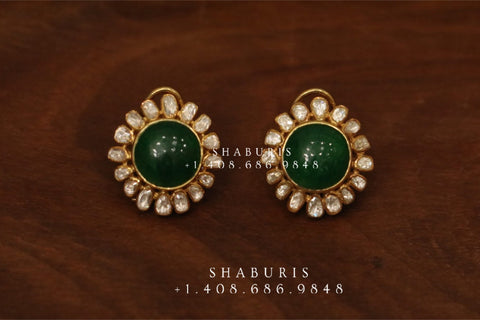 Emerald stud,polki stud,polki diamond jewelry in silver,big studs,indian jewelry,statement jewelry-SHABURIS