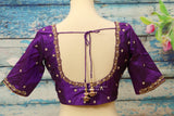 Silk Saree Blouse | Silk Blouse | zardhosi work Blouse | purple Saree Blouse | Stitched Saree Blouse | Honeybee Handlooms