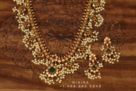 Guttapusalu Necklace,Gold Plated Jewellery Indian ,Artificial Jewellery,lyte weight Indian Bridal,Indian Wedding Jewelry-NIHIRA-SHABURIS