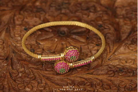Ruby bangle,Gold Plated Jewellery Indian ,Artificial Jewellery,gold bracelet ,Indian gifts jewelry -NIHIRA-SHABURIS