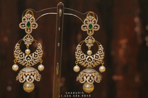 Diamond Jhumka,diamond chandbali,diamond earrings indian,detatchable diamond jhumka,swarovski diamond jhumka,chandbali earrings,silver