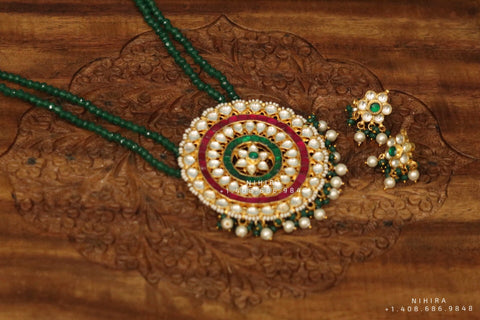 Emerald Necklace,Gold Plated Jewellery Indian ,Artificial Jewellery,lyte weight Indian Bridal,Indian Wedding Jewelry-NIHIRA-SHABURIS