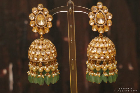 Polki Diamond Buttalu,polki Diamond Jhumka Jewelry,sabyasachi Jewelry inspired Jhumka Earrings,Jhumki,  indian jewellery Designs -NIHIRA