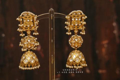 Polki Diamond jhumka,polki Diamond Jhumka Jewelry,sabyasachi Jewelry inspired Jhumka Earrings,Jhumki,  indian jewellery Designs -NIHIRA