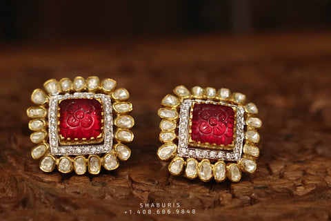 Ruby stud,polki stud,polki diamond jewelry in silver,big studs,indian jewelry,statement jewelry-SHABURIS