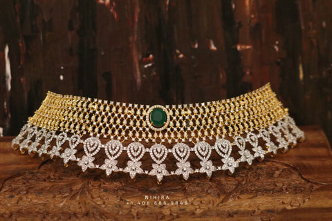 Diamond choker,Swarovski Jewelry,diamond Necklace,chandbali jewelry,lyte weight Indian Bridal,Indian Wedding Jewelry,Sabyasachi jewelry