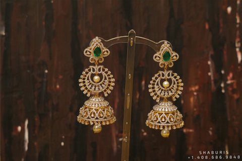 Pure Silver Jewellery Indian ,diamond jhumka ,Big Indian Studs,Jhumkas,Indian Bridal,Indian Wedding Jewelry,pure Silver jewelry-SHABURIS