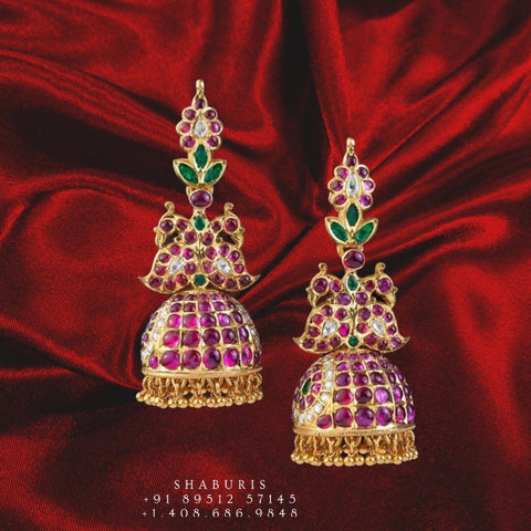 Ruby earrings pure silver jewelry indian peacock jhumkas indian jewelry simple jewelry sets -SHABURIS