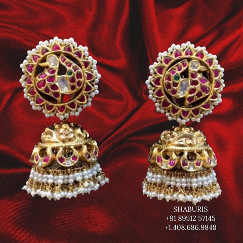 Antique Jewelry,Pure Silver Jewellery Indian ,antique jhumka,Big studs,Indian Bridal,South Indian Wedding Jewelry-NIHIRA-SHABURIS