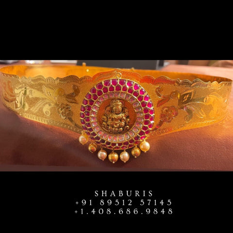 Temple Jewelry,South Indian Jewelry,Vaddanam,Kids Vaddanam,hip chain,diamond vaddanam,pure Silver indian jewelry - NIHIRA - SHABURIS