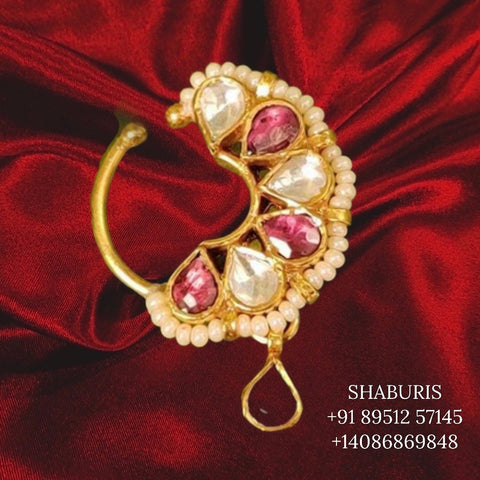 925 Pure Silver, Gold plated, Diamond Finish Nosepin, Latest Indian Jewelry, Polki jewelry diamond jewelry moissanites rubies - SHABURIS