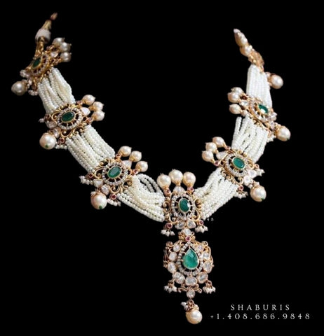 Pure Silver jewelry indian polki haram diamond necklace sabyasachi jewelry inspired 22ct dipped jewelry indian jewelry -SHABURIS