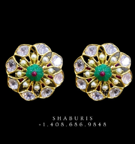 polki jewelry polki diamond earrings,Pure Silver Jewellery Indian ,Emerald Studs,Big Indian studs,Earrings ,Indian Bridal,Pakistani Jewelry-NIHIRA-SHABURIS