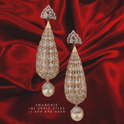 Diamond jhumka earrings,Pure silver Jhumkas Indian,Indian Earrings,Indian Wedding Jewelry -NIHIRA-SHABURIS