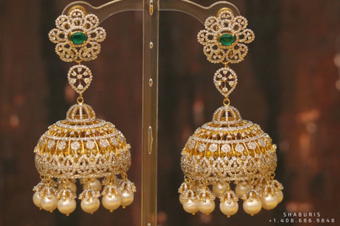 Diamond Jhumka ,diamond earrings,Pure silver Jhumkas Indian,Indian Earrings,Indian Wedding Jewelry -NIHIRA-SHABURIS