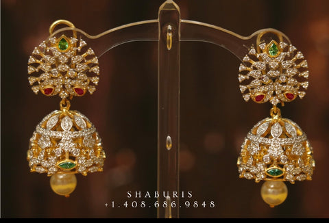 Diamond Buttalu,Swarovski Diamond Jhumka Jewelry Designs,South Indian Jewelry,Jhumka Earrings,Jhumki,latest indian jewellery Designs -NIHIRA