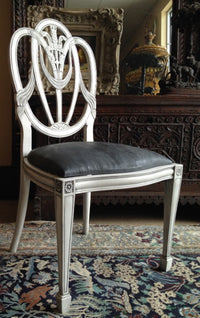 Vintage shield-back chair refurbished with Pure White and Graphite Chalk Paints