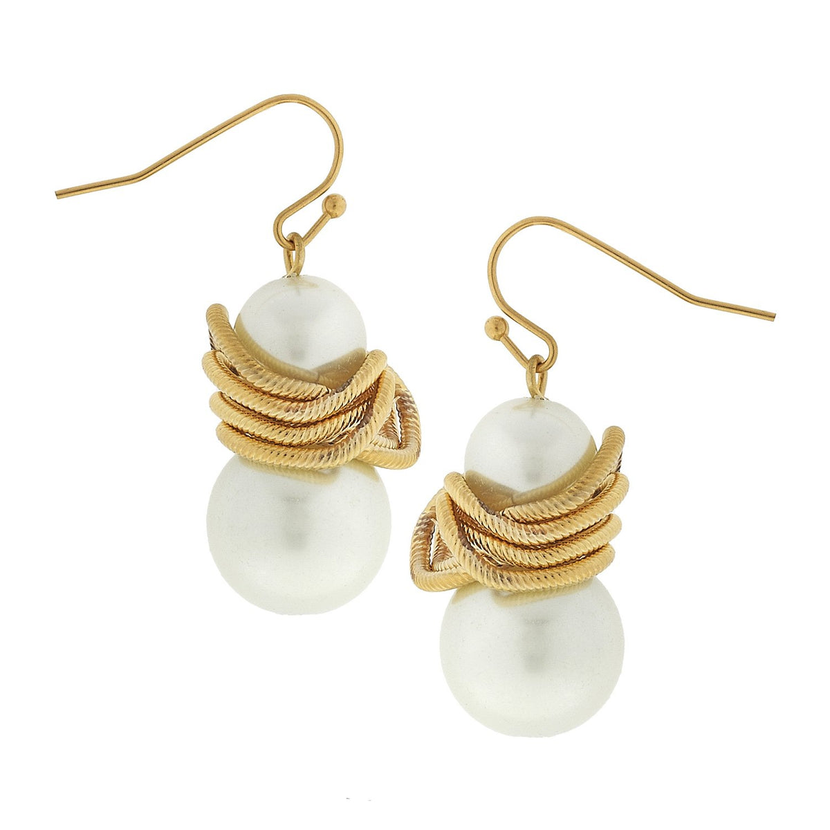 SUSAN SHAW PEARL LINK EARRINGS