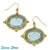 Susan Shaw Earrings: Aqua Venetian Glass Bee & Gold