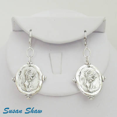Susan Shaw Earrings: Silver Finished Lion Coins