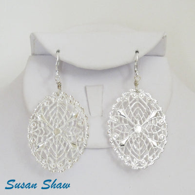 Susan Shaw Earrings: Large Sterling Silver Plated Oval Filigree