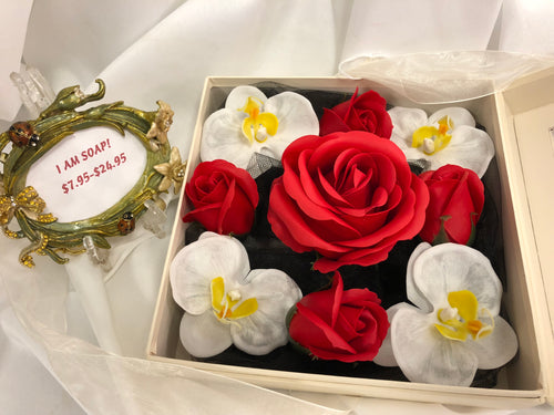 Soap Blooms: Red Roses and White Phalaenopsis Orchids