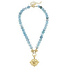 SUSAN SHAW GOLD TURTLE ON AQUA FIRE AGATE NECKLACE