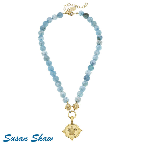 Susan Shaw Necklace: 24kt gold finished Sea Turtle & Aqua Fire Agate