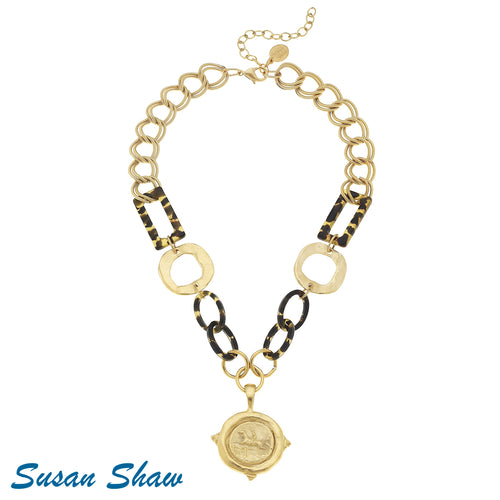 Susan Shaw Necklace: An Equestrian Coin with 24kt finish and Tortoise
