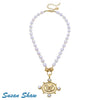 SUSAN SHAW Gold Oval Butterfly on Genuine Freshwater Pearl Necklace