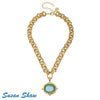 Susan Shaw Necklace: Aqua Venetian Glass Bee with Chain