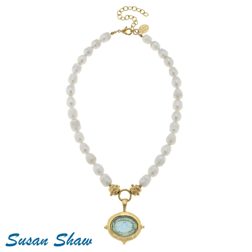 Susan Shaw Necklace: Aqua Venetian Glass Bee & Pearls