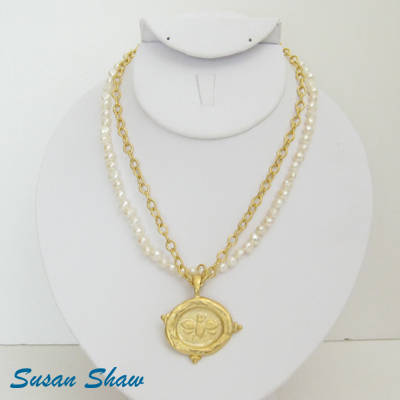 Susan Shaw Necklace: Golden Bee with Pearls and Chain