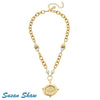 Susan Shaw Necklace: Gold Bee with White Pearls