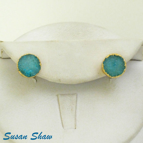 Susan Shaw Earrings: Aqua Druzy Quartz Studs
