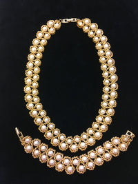 Stunning Vintage Napier Gold Tone Faux Pearl Necklace and Bracelet