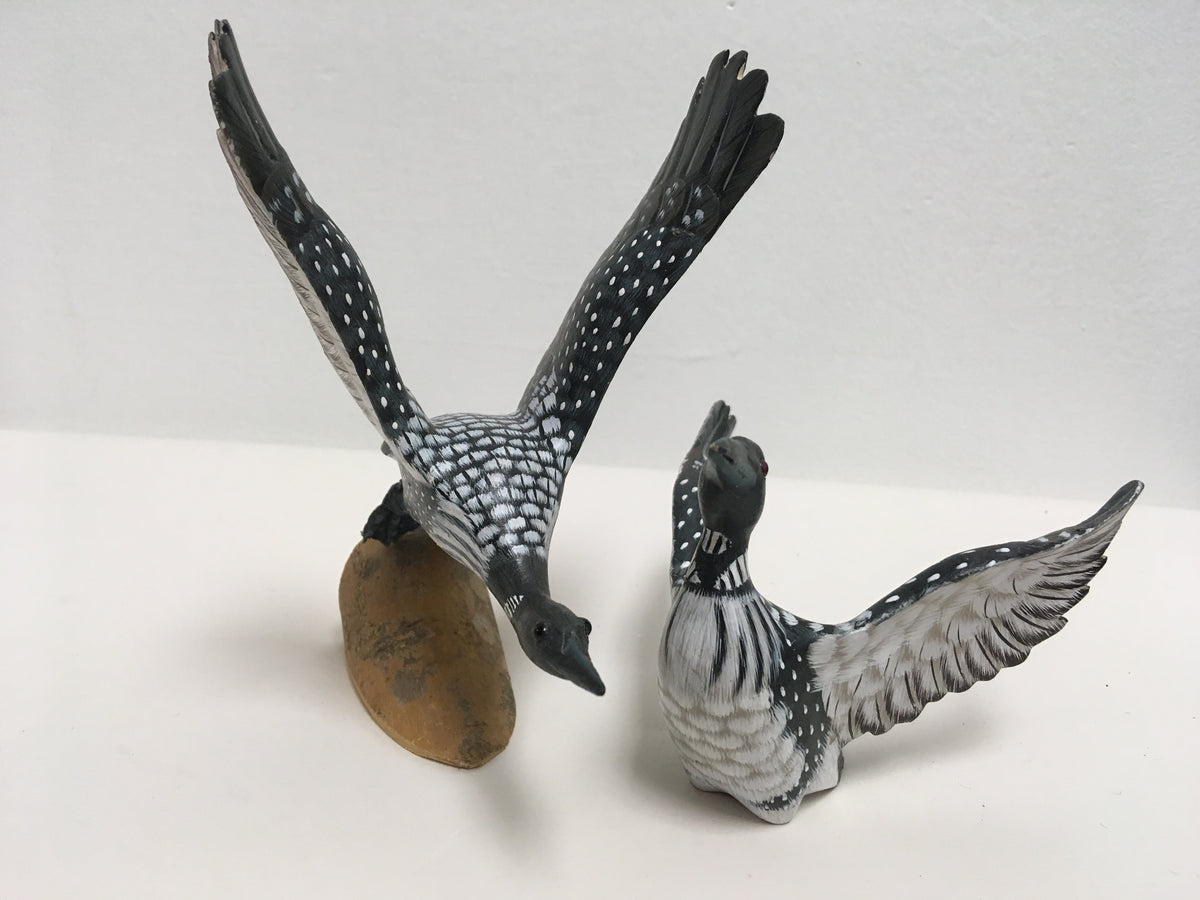Pair of Miniature Hand Carved and Painted Loons