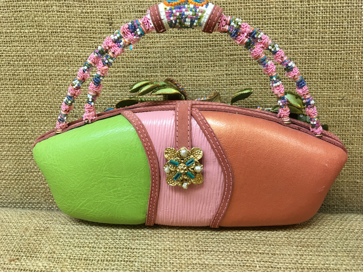 Mary Frances Pink and Lime Green Purse
