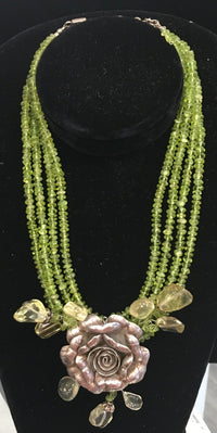 Exquisite Floral Sterling Silver and Green Glass Necklace