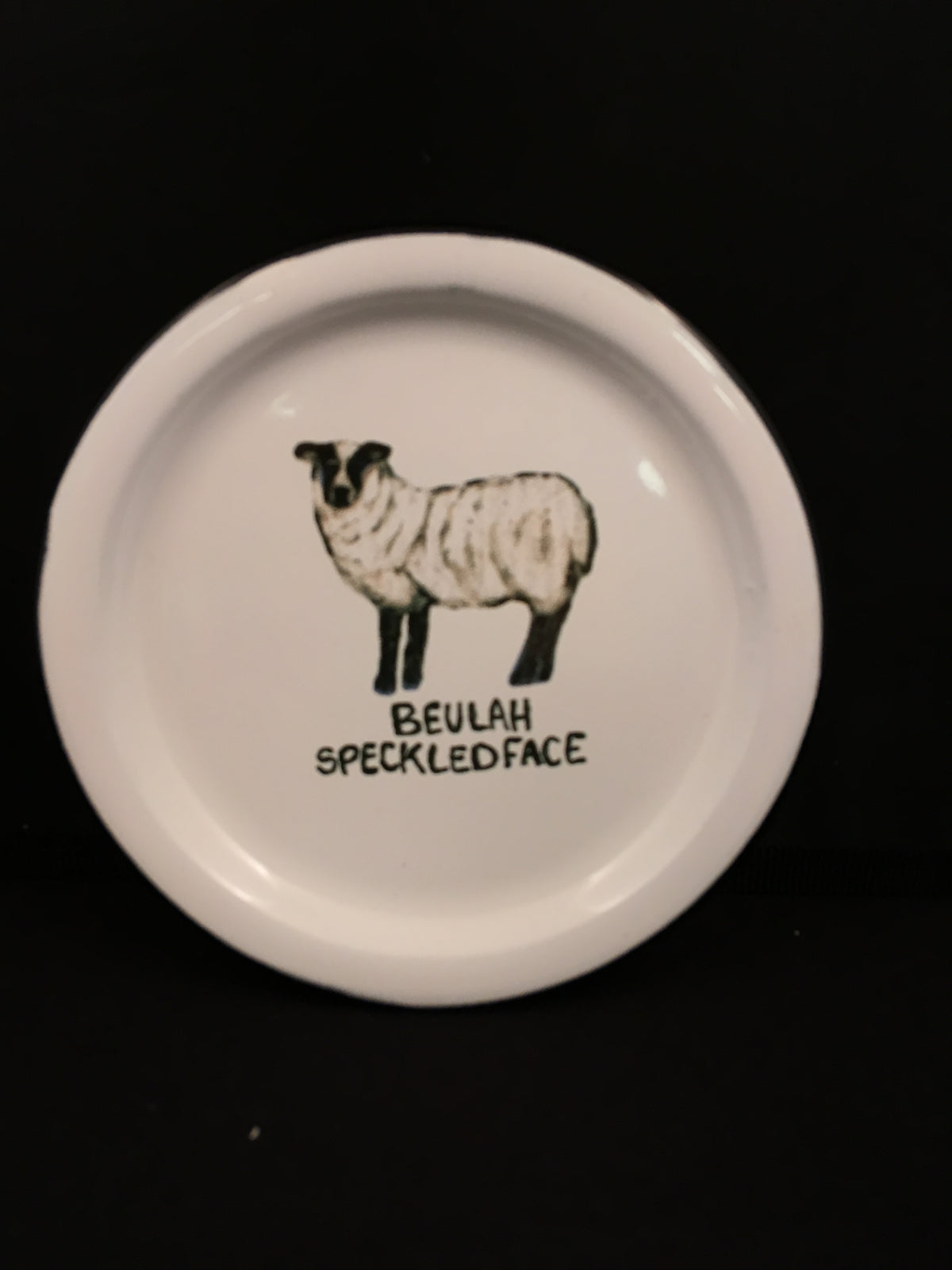 "Plate: Enamel with Farm Animal Design 5"" round"