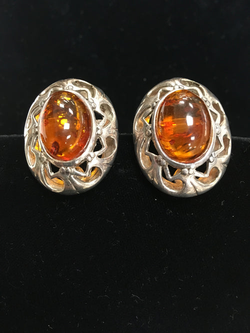 Genuine Amber and Sterling Silver Clip on Earrings