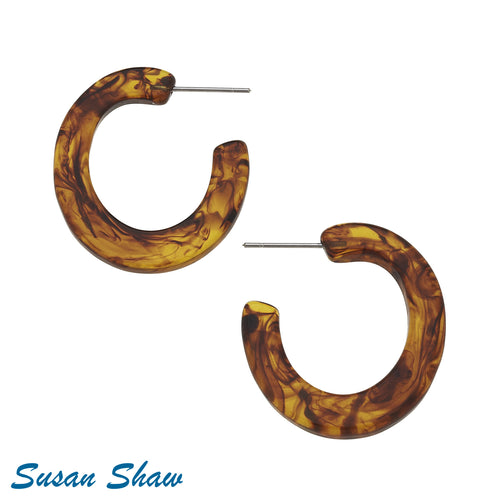 Susan Shaw: Faux Tortoise Hoop Earrings