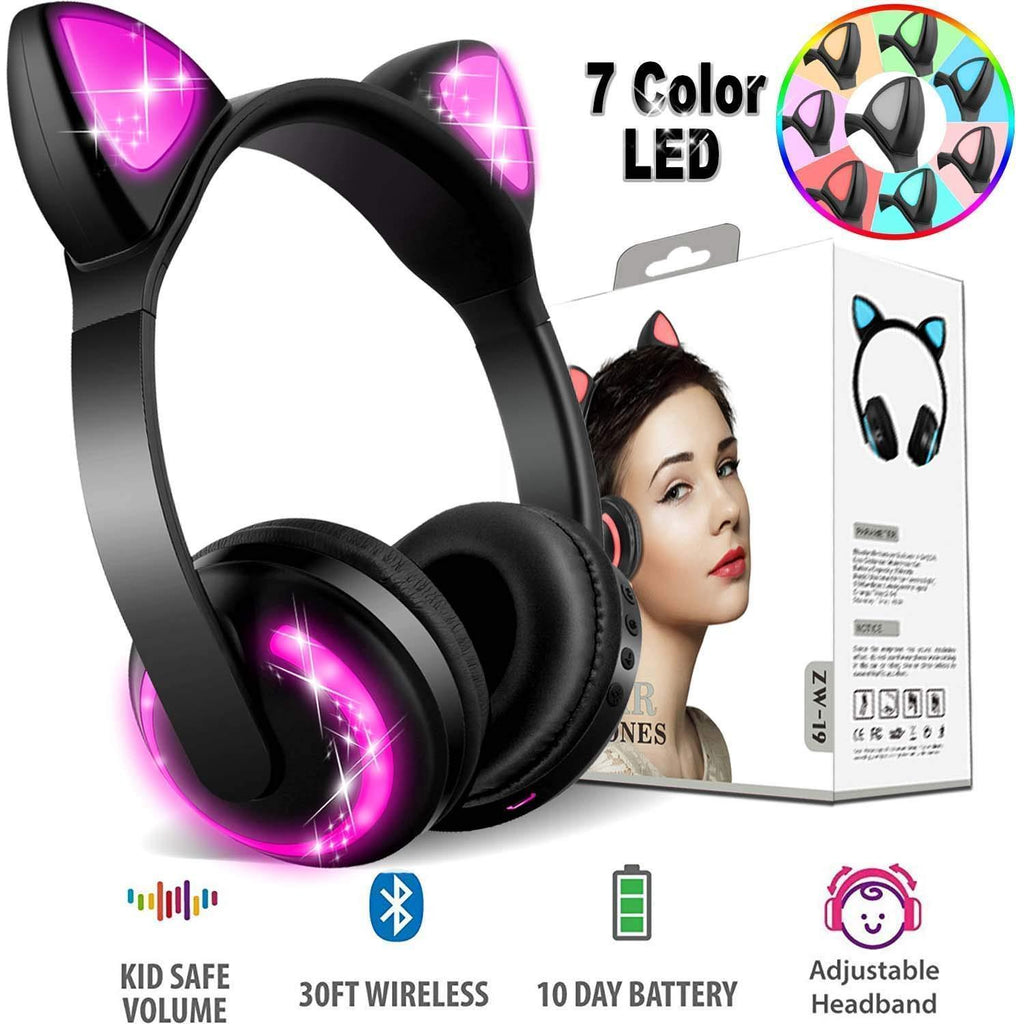 Cat Ear Bluetooth Wireless Headphones on Ear with MIC and LED Light
